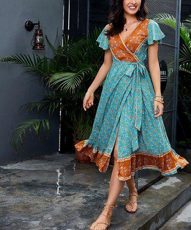 b909591229a1 Loving this Teal & Gold Floral Ruffle Hem Midi Dress - Women & Plus on #