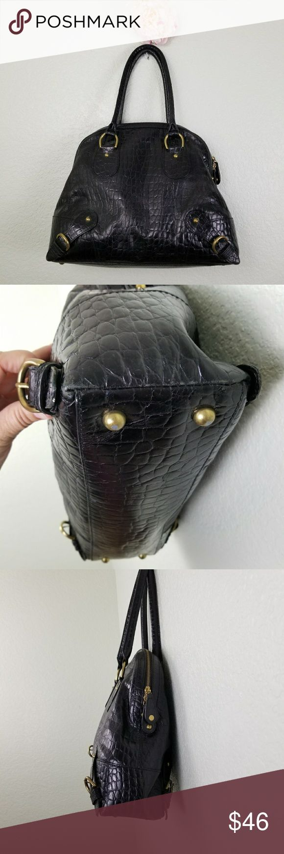 Banana Republic Croc embossed satchel handbag Banana Republic Croc embossed satchel leather handbag. Please note some wear to corners as shown in photos.   Measurements to come. Need them now? Ask :) Banana Republic Bags Satchels