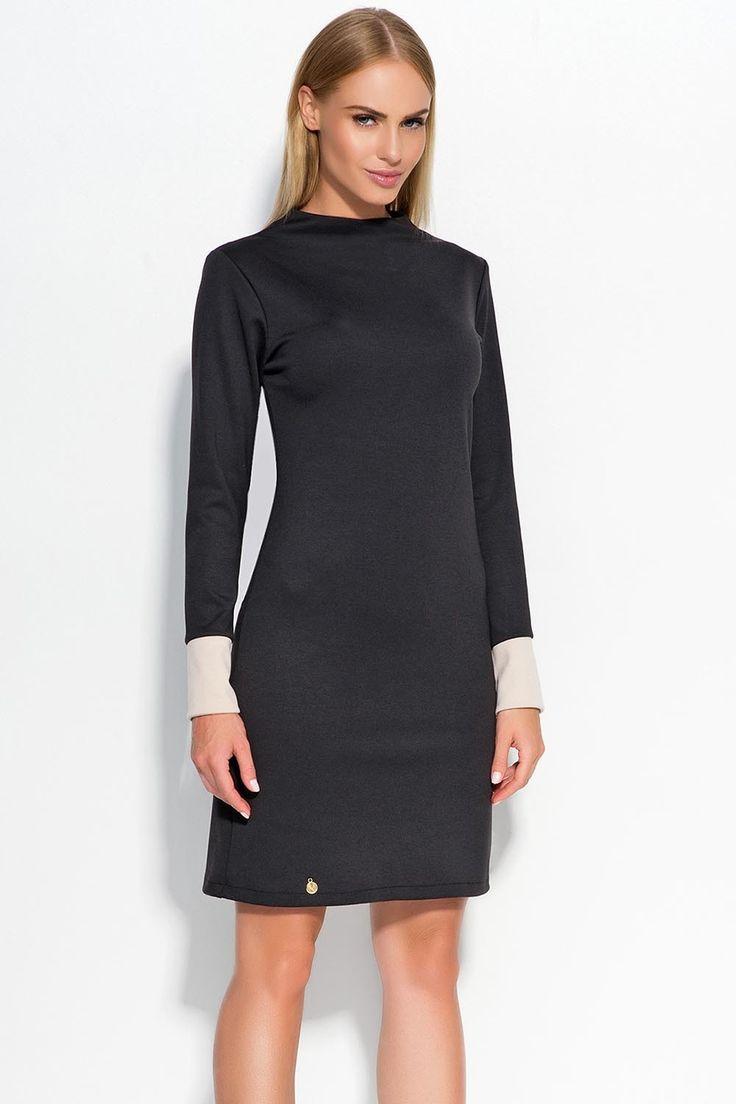 Sukienka Makadamia M329 - czarny Stylowa sukienka damska: ...  https://www.mega-ciuchy.pl/sukienka_makadamia_m329_czarny