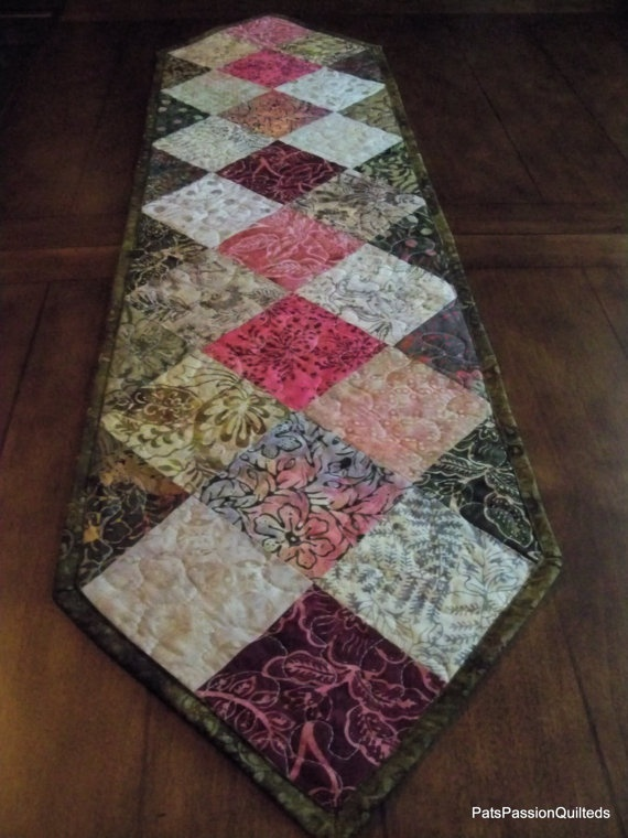 Batik Patchwork Quilted Table Runner Greens by PatsPassionQuilteds