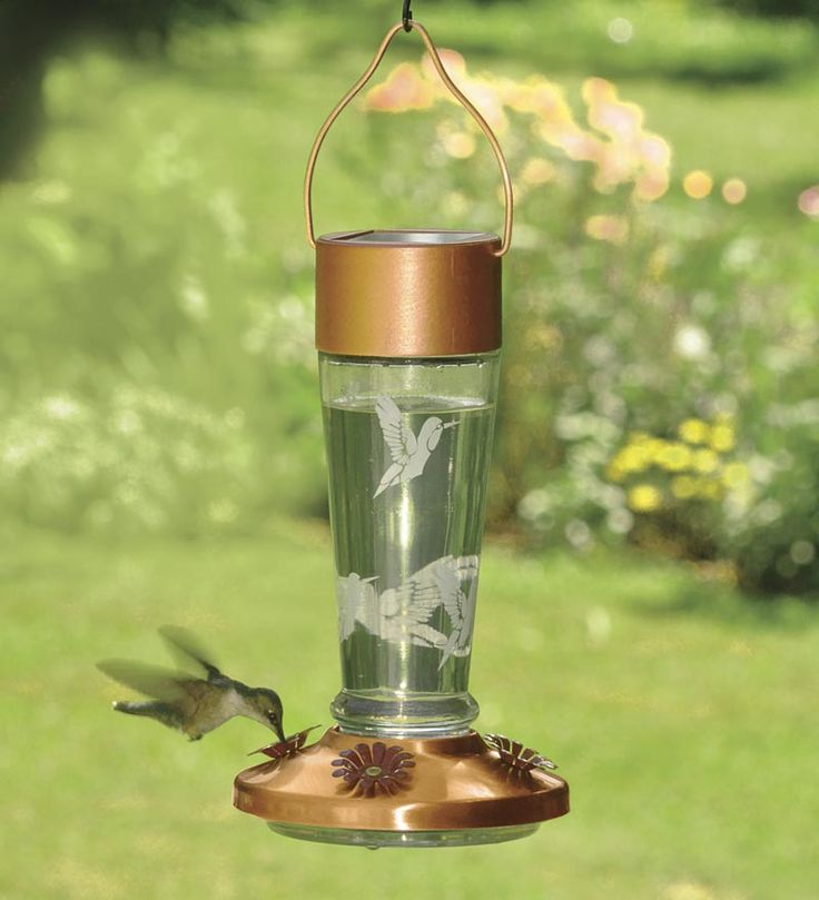 #Solar Powered Lighted #Hummingbird #Feeder   This Feeder Releases A  Color Changing