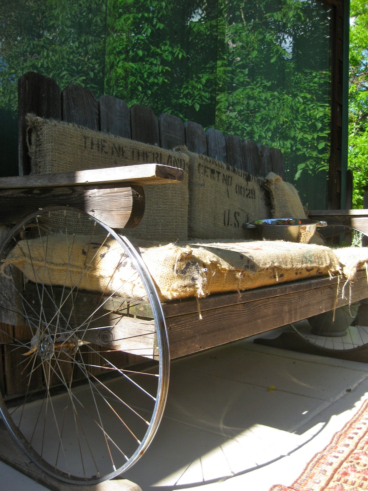 Upcycled Bench from Bicycle Spokes, I made these outdoor cushions from Burlap  Sacks Free from Noble Coffee.