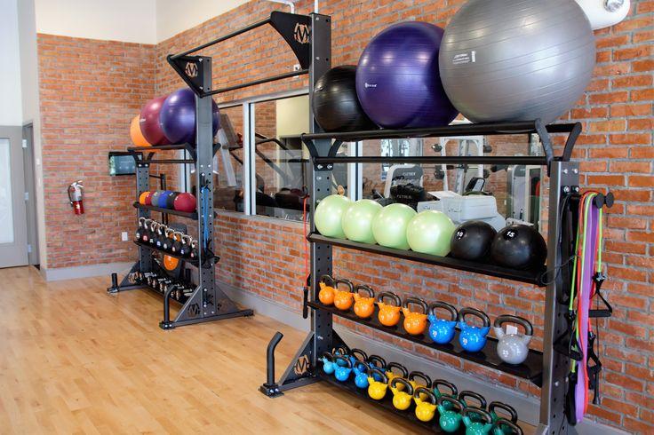 Dual Elite storage functional fitnesss rack. Dual height pull-up bar connector. Kettlebells, stability balls, medicine balls