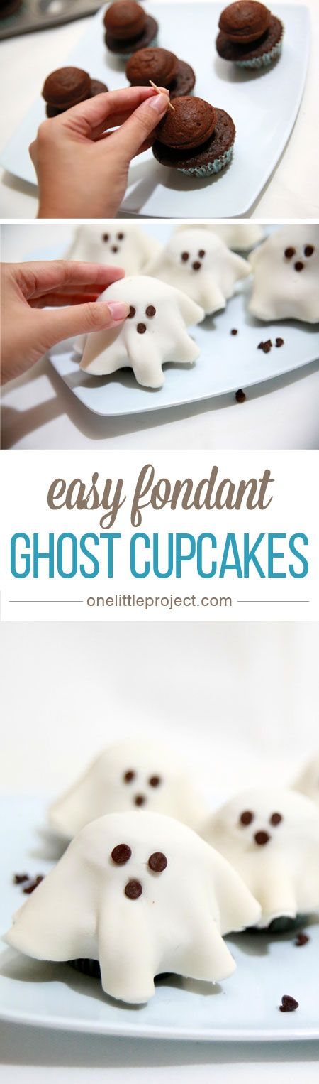 These fondant ghost cupcakes are so easy and make an ADORABLE Halloween treat! Use premade fondant to put them together in a snap! Your kids will love them!