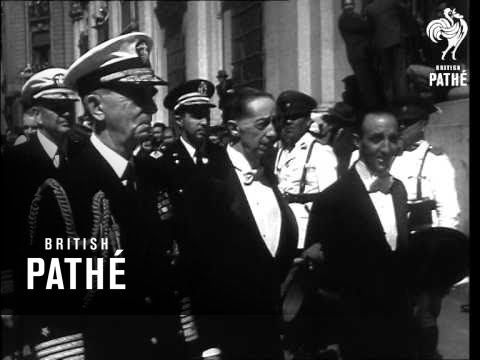 Unissued / Unused material. The Chilean congress elect Gonzalez Gabriel Videla as their new President. LS huge crowd assembled outside the senate building in...