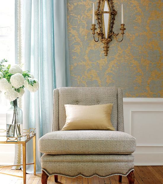 Light Blue Curtains/Drapes and Wallpaper