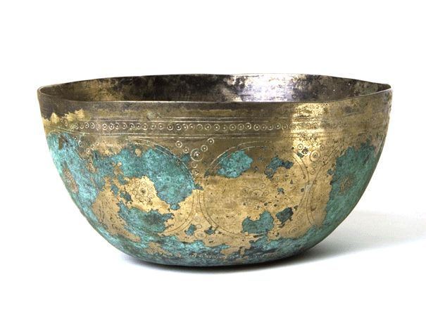 Incised Ghaznavid Bowl, ca. 10th to 11th century AD, metal alloy. (The Ghaznavid dynasty was a Muslim dynasty of Turkic  origin which ruled much of Persia, Transoxania, and the northern parts of the Indian subcontinent from 975 to 1186 AD.)