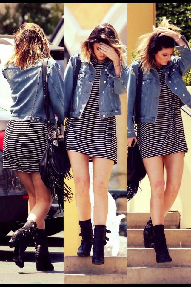 Kylie jenner street style stripes dress