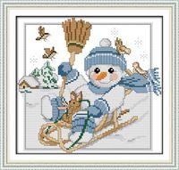 Рождественский снеговик (2) вышивка крестом комплект 14ct 11ct количество печати холст стежков вышивка DIY ручной работы рукоделие плюс