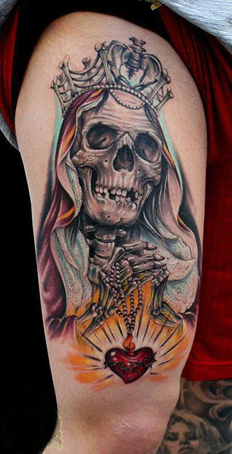 25 best ideas about la santa muerte tattoo on pinterest. Black Bedroom Furniture Sets. Home Design Ideas