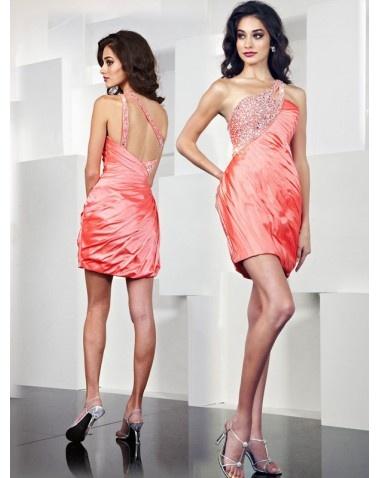Pretty Column One Shoulder Beading Sleeveless Short Mini Taffeta Cocktail Dresses Homecoming Dresses