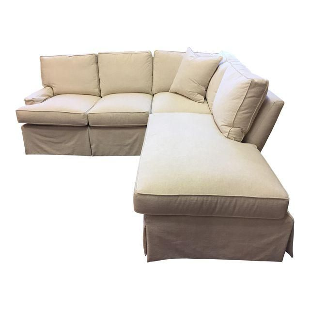 Custom White Crypton Section Sofa U2013 This Super Comfortable Custom Thibaut  Sectional Sofa Is Made Up