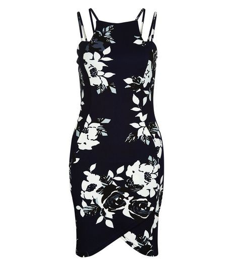 AX Paris Navy Floral Print Strappy Dress | New Look