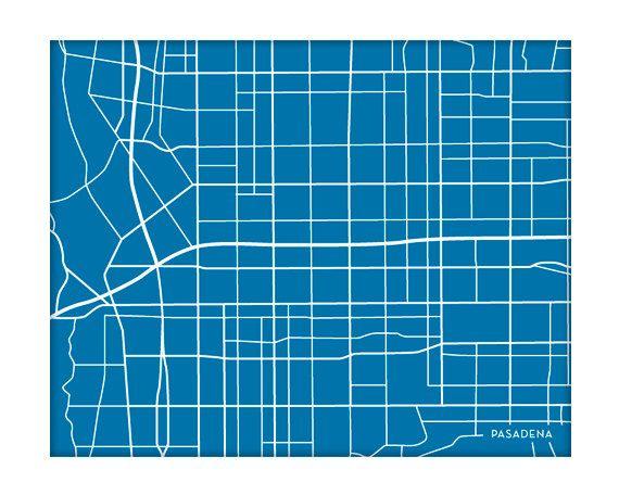 Pasadena City Map Art Print / Choose your Color by jennasuemaps, $18.00