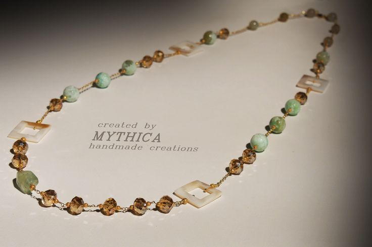 Sterling silver necklace by Mythica handmade creations. Agate, crystal beads and sterling silver gold plated chain Price : 60 Euros Fb : Mythica handmade creations Official Site : www.mythica.gr