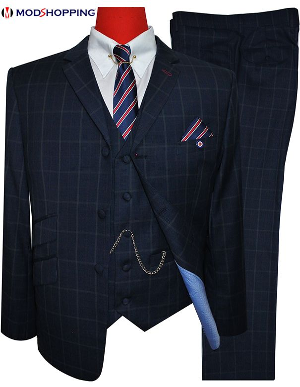 Modshopping - GREY DOGTOOTH CHECK DARK NAVY BLUE SUIT, £299.00 (http://www.modshopping.com/grey-dogtooth-check-dark-navy-blue-suit/)