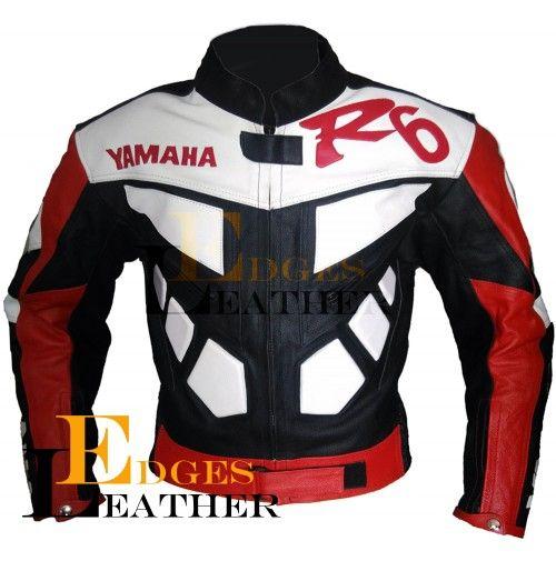 Yamaha R6 Black Red Leather Jacket Men's