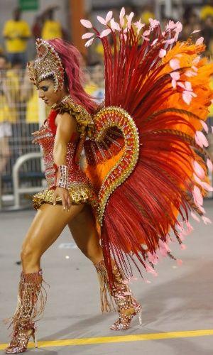 Desfile da escola de samba Rosas de Ouro na madrugada deste sábado (14) em São Paulo