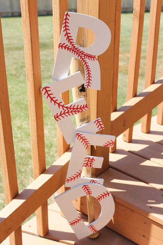 Baseball painted letters screwed to a bat; another cute idea for a lil boys room