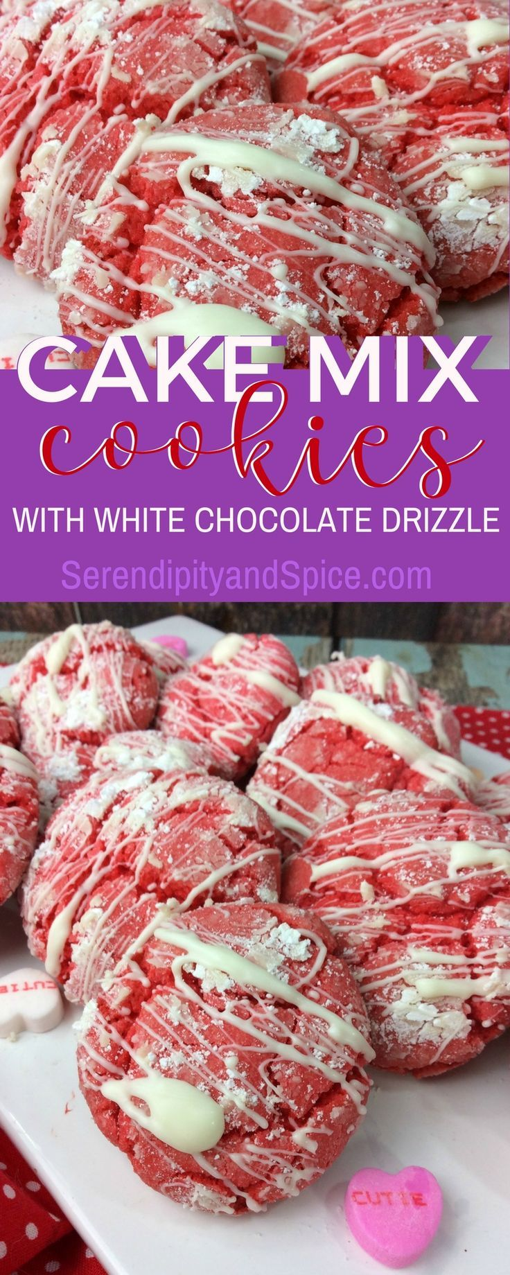 These strawberry and white chocolate cake mix cookies are perfect for baking with the kids!  #cookies #cakemixrecipes #cookingwithkids #valentinesday #valentine #dessert #dessertrecipes