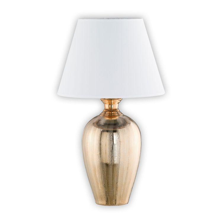 -50% Reduziert!    Die edele #Tischleuchte Belly ist in einem Goldton gehalten. Sie erzeugt ein harmonisches Licht dank des weißen Stoffschirms. Schalten sie einfach diese Leuchte an den Schnurschalter ein.    #Lampen #Wohnideen #wohnen #Lampensale
