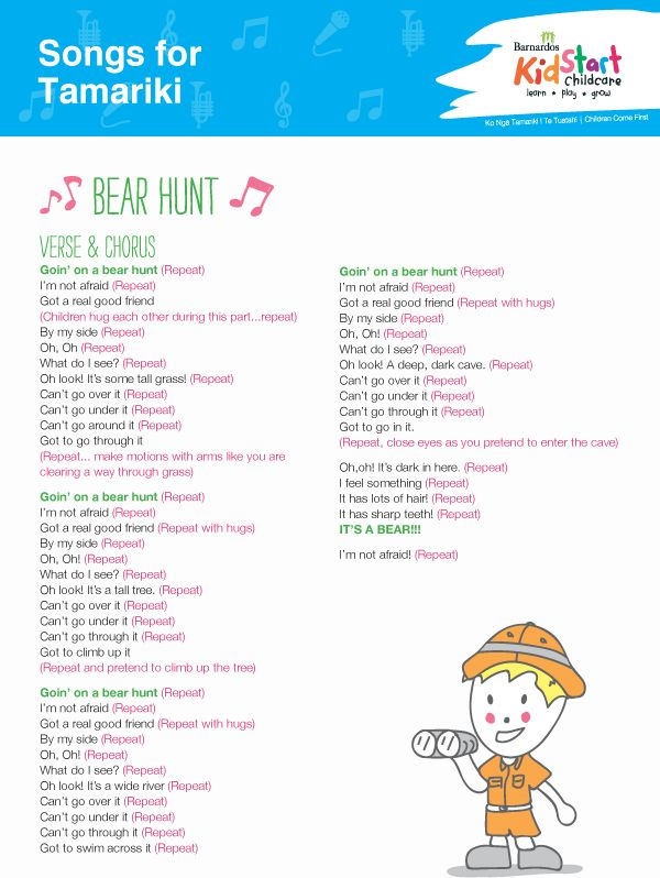 Part of our Songs for Tamariki series - children love to sing, it helps them grow! This is all about going on a Bear Hunt and your children will love to learn it, sing it, and act it out...