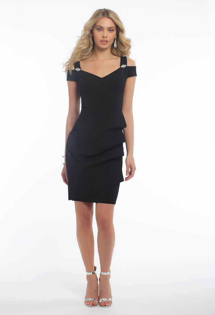 Spice up your night with this sophisticated cocktail dress! With its sweetheart neckline, cold shoulder, ruffle detail in the side, and sheath silhouette, this holiday dress is ready to celebrate. #camillelavie