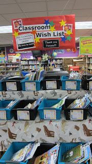 My Familia: Book Fair - Teacher Wish list books in containers not just written on a list