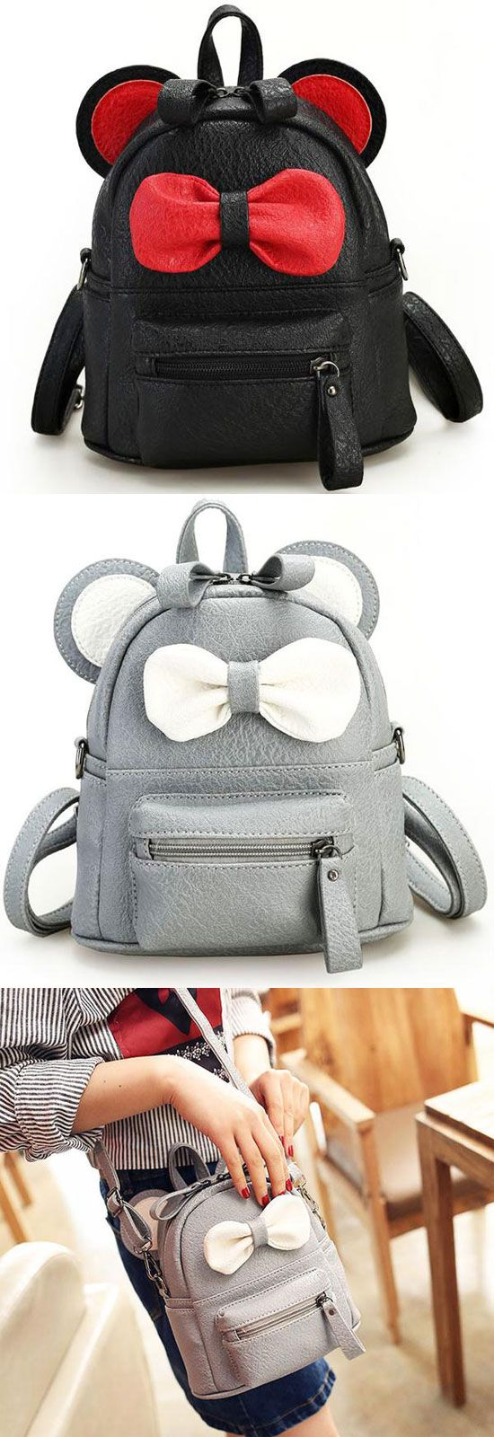 ed0b59d60491 Cute Cartoon School Mini Bow Kitty Ears PU Backpacks