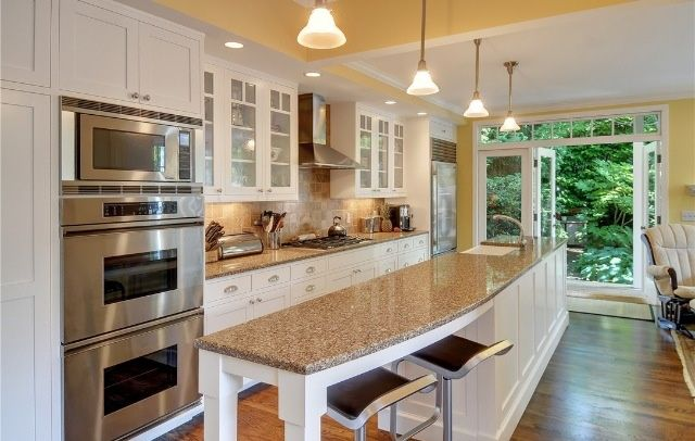 Galley kitchen with island and only one wall galley for Long kitchen ideas
