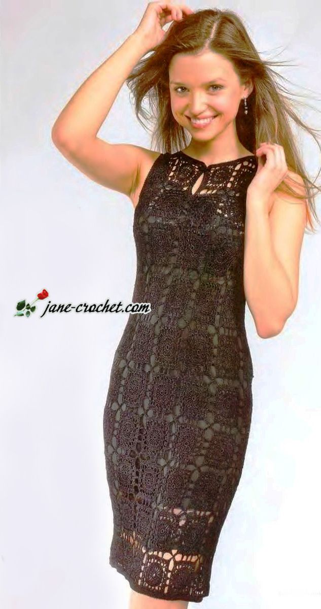 crochet black dress with diagram for the motif