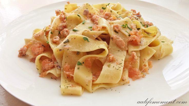 Smoked salmon pasta, what a nice treat :)