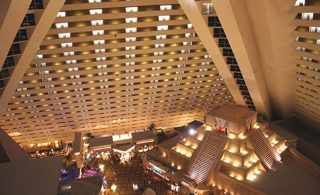 Elevator's at the Luxor hotel in Las Vegas travel at a sharp 39-degree angle. (Courtesy jaytilston/Flickr) From: 12 Unbelievable Elevators.