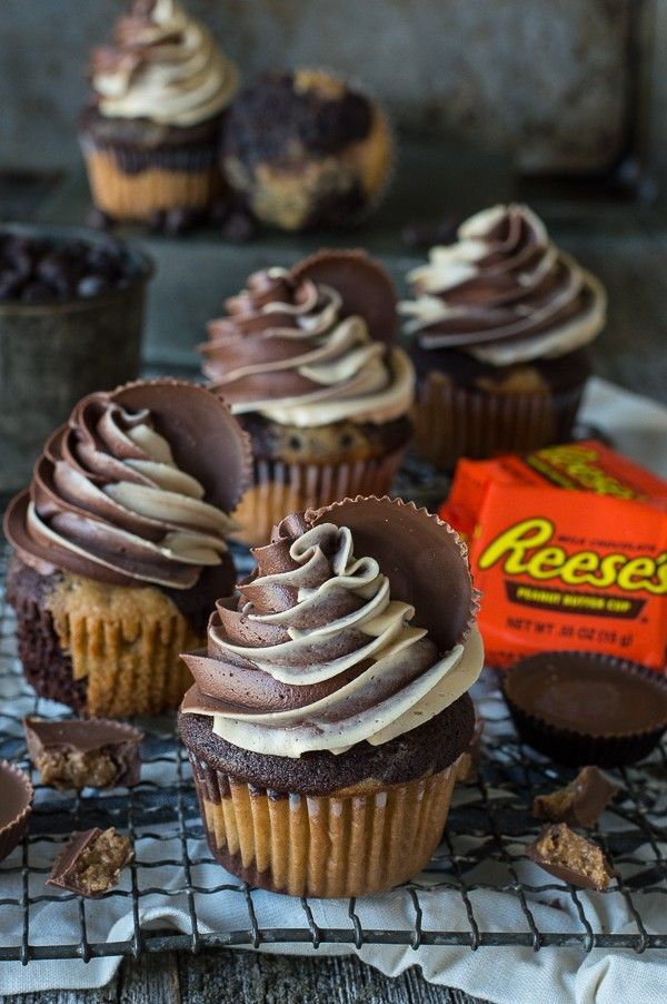 The ultimate Reese's Cupcake! Chocolate peanut butter cake and chocolate peanut butter buttercream and topped with a reese's peanut butter cup!