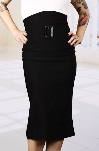 Broad Minded Clothing Super High Waisted Black Stretch Pencil Skirt with Built-in Buckle Belt $39.95