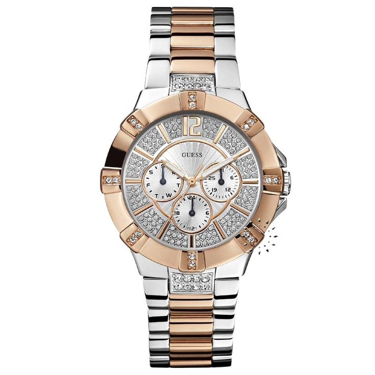 GUESS Crystal Two-Tone Stainless Steel Bracelet Μοντέλο: W0024L1 Τιμή: 177€ http://www.oroloi.gr/product_info.php?products_id=28392