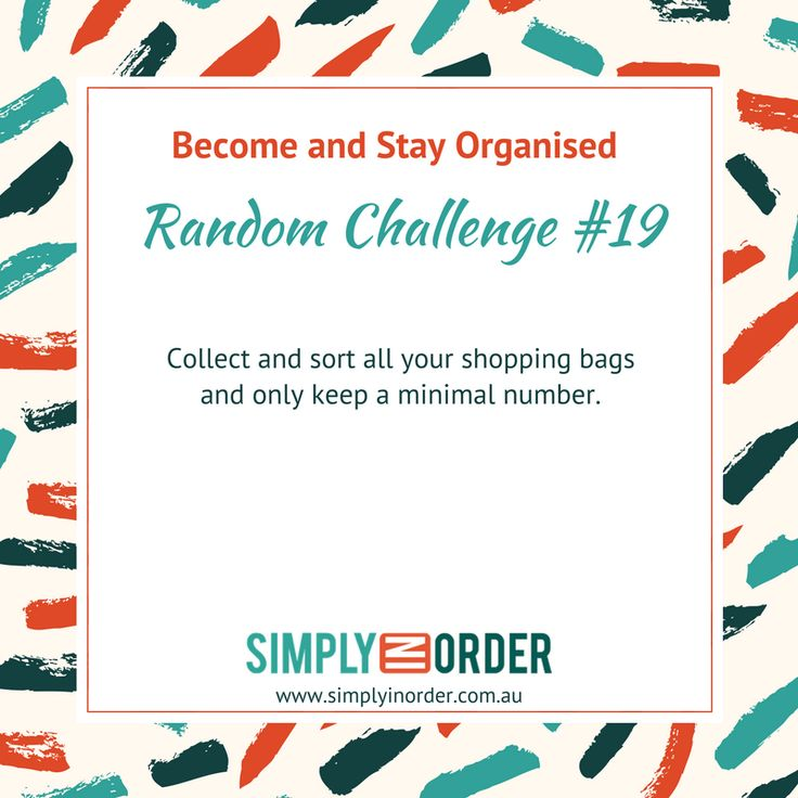 Become and Stay Organised --- Weekly Decluttering and Organising Challenge #19 --- How did you go with the belts last week?   Today we are going to look at your shopping bags. Whether they are the plastic ones, the reusable ones or any other kind of bags you use for shopping doesn't matter.  As always, get them all out and sort like with like. Shocked by the size of the piles? Yep, they somehow tend to accumulate over night.   Since I hate waste and like to reuse things I of course recommend…