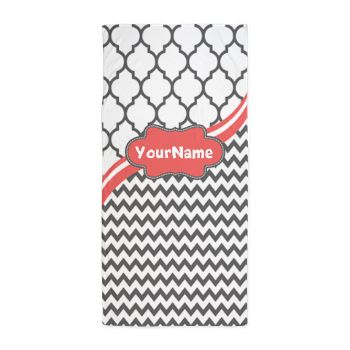 Gray and Coral Chevron Custom Beach Towel  Grey chevron and lattice pattern with custom coral personalized name. $40.49