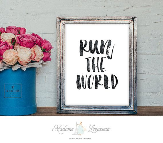 printable art Run the World printable quotes lyrics Beyonce songs minimalist art prints inspirational print instant download printable songs