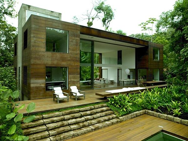 Amazonian Jungle House Blurs Indooroutdoor Boundaries Tropical - Modern house jungle