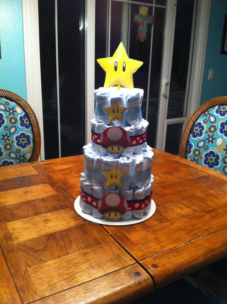 Shawnie baby shower Mario diaper cake
