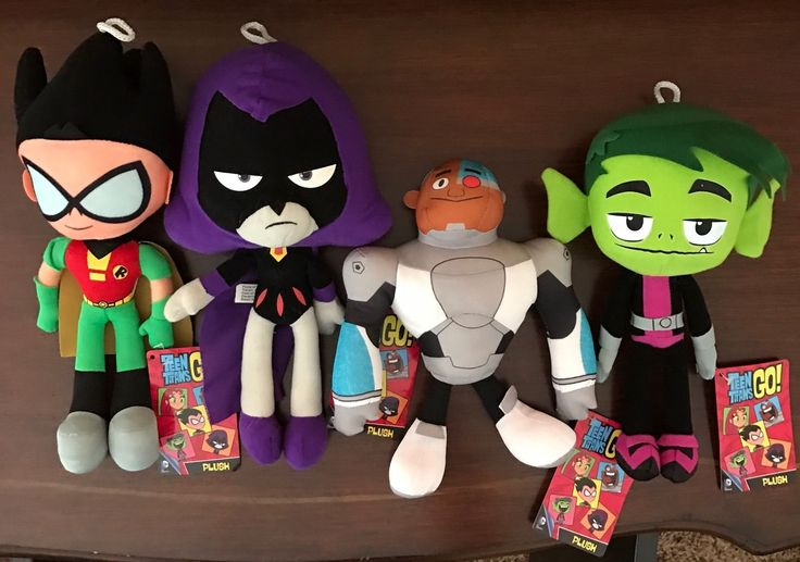 Teen Titans Go Set of 4 Plush 10 inch Cyborg Raven Beast Boy Robin Official