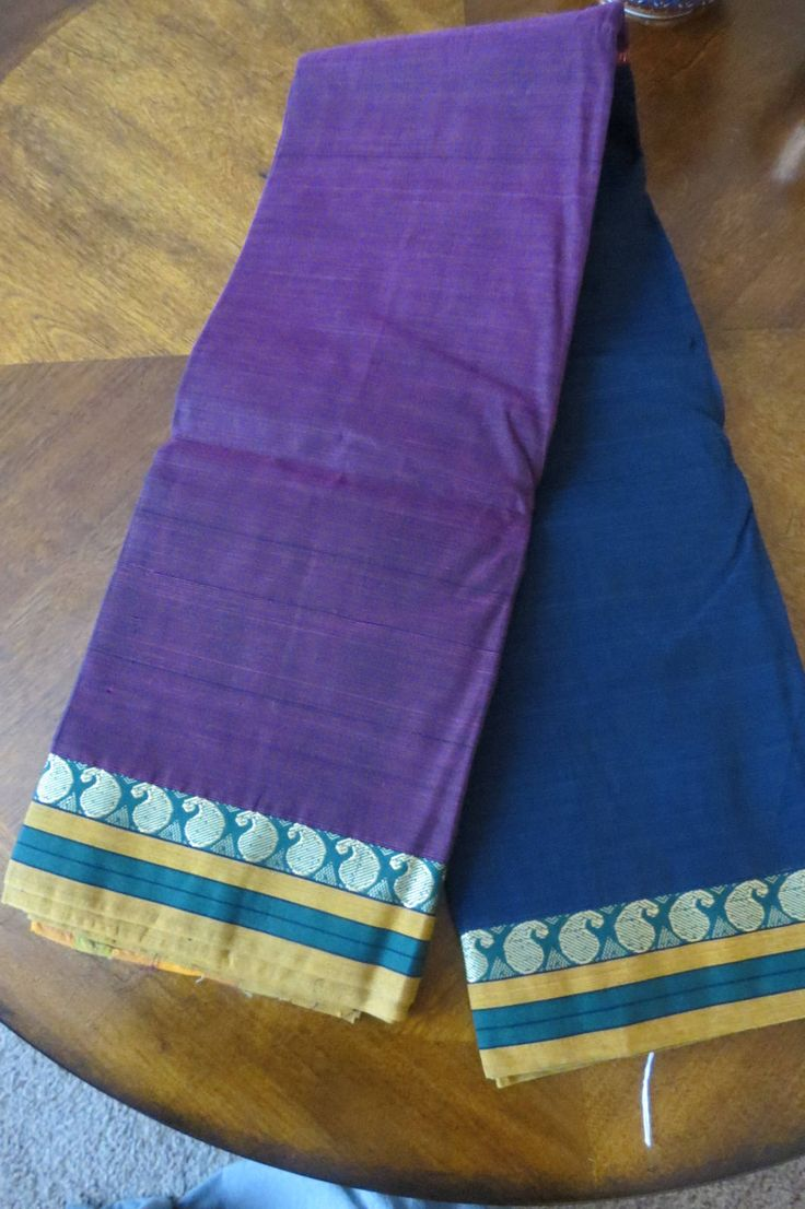 South Cotton pure handloom saree in navy blue and dual toned purple color by ZainabBoutique on Etsy