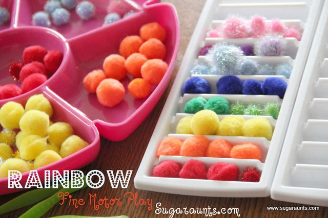 By the Sugar Aunts: crafting pom poms, tweezers, and ice cube tray. #Rainbow themed #finemotor play!