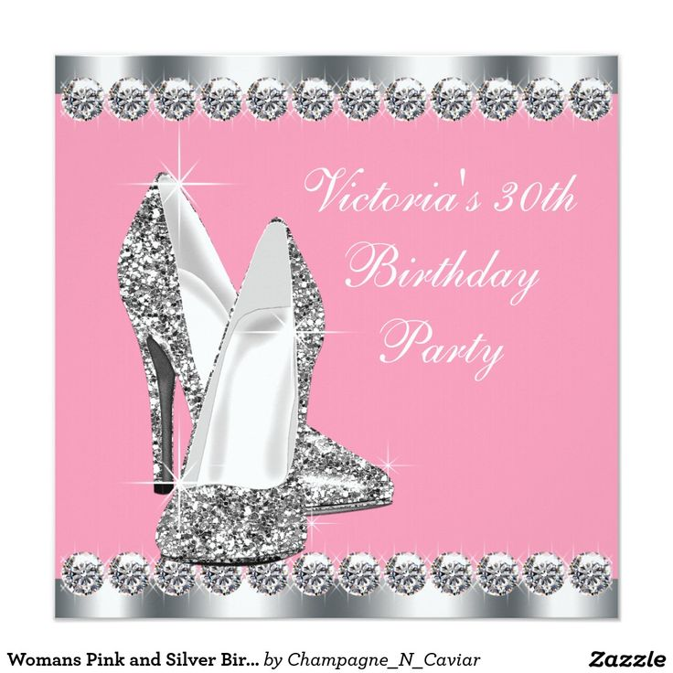 Invitation Cards For Ladies Party. Womans Pink and Silver Birthday Party Invitation 246 best Invitations images on Pinterest
