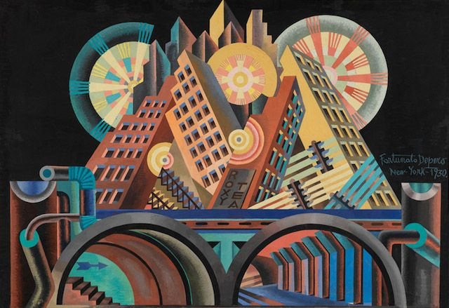 "Skyscrapers and Tunnels ""Gratticieli e tunnel"" (1930) by Fortunato Depero Tempera on paper - Museo di arte moderna e contemporanea di Trento e Rovereto, Italy - Part of exhibit: Italian Futurism at the Guggenheim Museum, NYC"