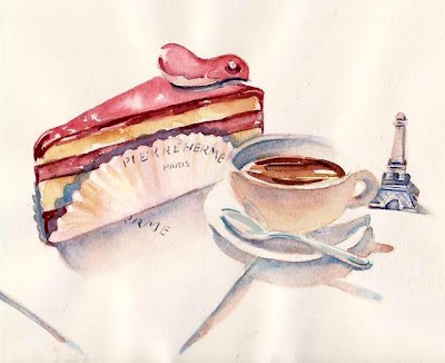Lovely Ispahan Cheesecake painting by Paris Breakfasts! <3