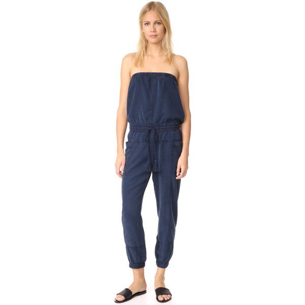 Young Fabulous & Broke YFB Clothing Luke Jumpsuit ($200) ❤ liked on Polyvore featuring jumpsuits, navy, blue jumpsuit, strapless jumpsuit, blue jump suit, navy strapless jumpsuit and jump suit
