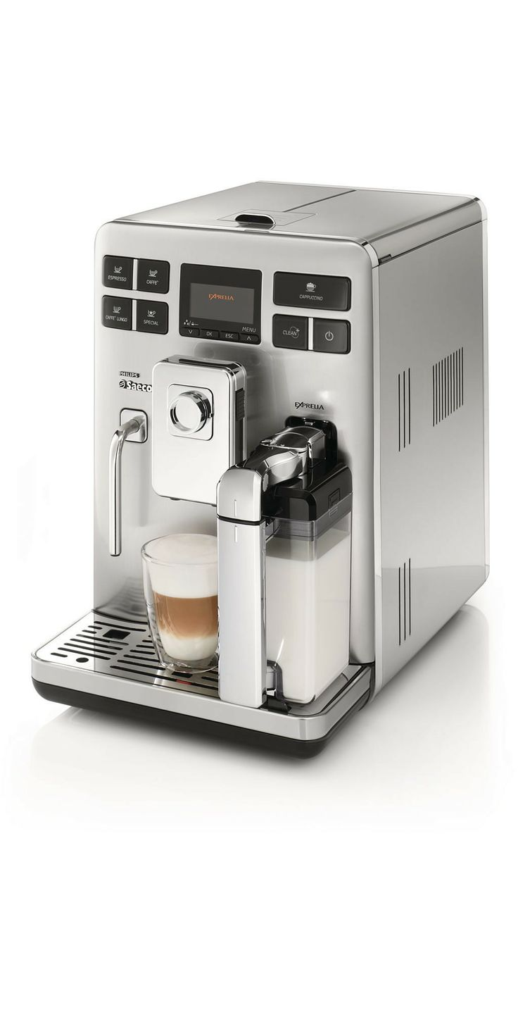 Exprelia Automatic espresso machine HD8856/01 - Saeco The Exprelia Saeco coffee machine is always ready to prepare your favorite coffee. The all in one button, thanks to that now allows you to select your favorite beverage and the double boiler where the machine is equipped.