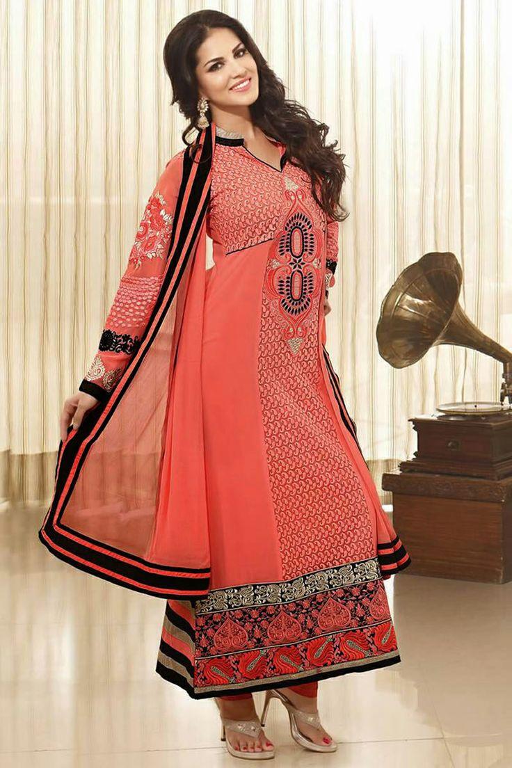 Bollywood Diva Sunny Leone Latest Party Wear Salwar Kameez